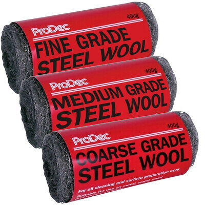 Prodec Steel Wool Wire Abrasive Metal Prep Decorating Coarse Medium or Fine 400g