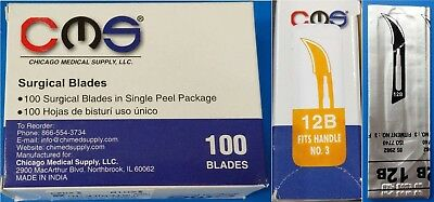 STERLING #12B Sterile Surgical Dental Blades Scalpels Carbon Steel 100/BX New
