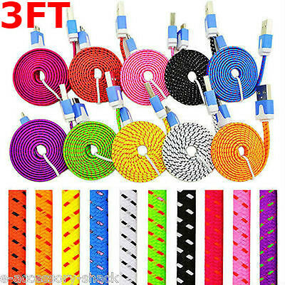 10x Rapid Charge Braided Micro USB Cable Fast Sync Power Cord Bulk Wholesale
