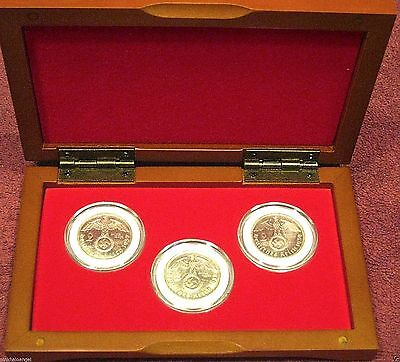 Germany German WW 2 Silver Reichsmark Coin Collection Cherry Wood Display Box