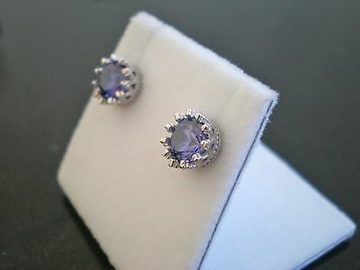 Classic Tanzanite  2.80ct 7mm Studs Earrings 925 Sterling Silver