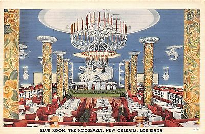 Louisiana postcard New Orleans Blue Room, The Roosevelt dinner dancing hotel