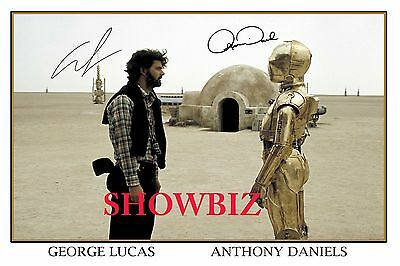 George Lucas * Anthony Daniels * Large Signed Autograph Photo Print * Awesome