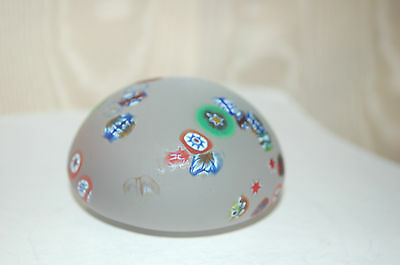Vintage Frosted Glass Millefiori Paperweight - Fantastic Condition!