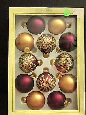 Designer Studio 12  Purple, Gold  Purple with Lace Glass Christmas Ornaments