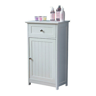 White Wood Storage Cabinet Unit Cupboard With Top Drawer Home Office Use New