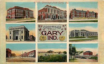 Indiana, IN, Gary, Greetings From, Multi-View 1911 Postcard