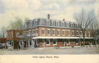 Kansas, KS, Downs, Hotel Lipton 1908 Postcard