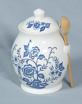 """Blue Peony Handpainted Blue & White Jar With Lid Cover 6"""" Height"""