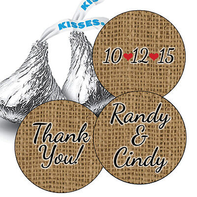 108 Burlap Personalized Wedding Hershey Kiss Stickers Favors