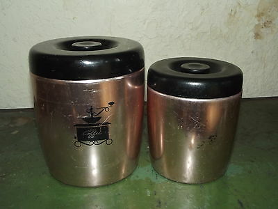 """VTG Lot of 2 Westbend Metal Canisters 6 1/2""""  5 1/4"""" Copper Color with Black Lid"""