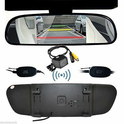 "Wireless Car Rear View Reverse Camera Kit  5"" Car Mirror Monitor Parking View"