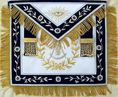 Masonic Blue Lodge Past Master Apron With Wreath Bullion Hand Embroidered Ma-428