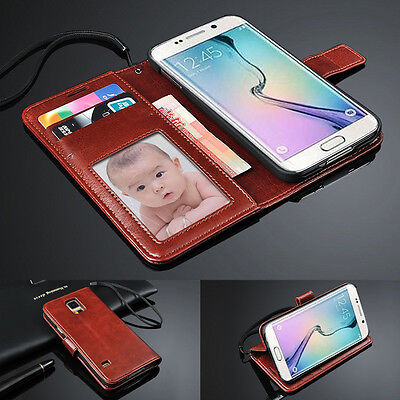 Brown Luxury Genuine Real Leather Case ID Wallet Cover For Samsung Galaxy Models