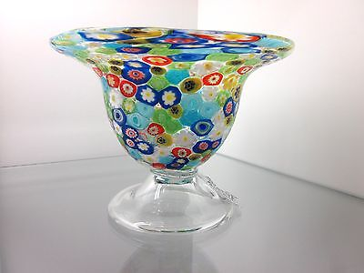 Millefiori Cane Crystal Footed Compote Candy Bowl/Dish