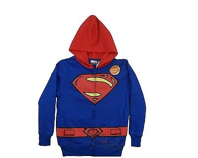 Superman Costume With Cape Zip Up Kids Boys Hoodie