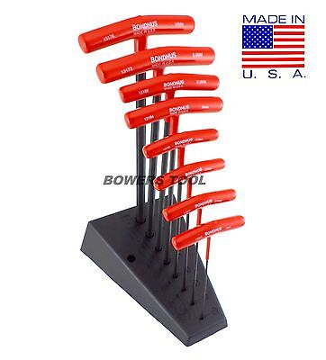 Bondhus T Handle Ball End Hex Wrench Set Metric MADE IN USA 13189 T-Handle Stand