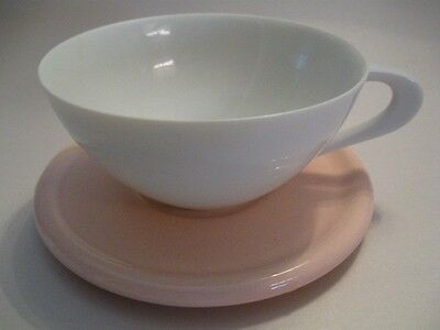 Sango 6600 Fine China Japan White Cup & Pink Saucer ATOMIC HANDLE Made in Japan
