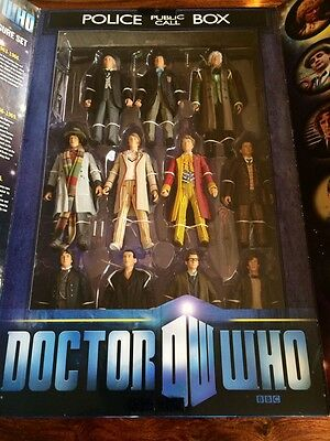 NEW! DOCTOR WHO 11 ELEVEN Doctors Figure Set with Tardis Display Box