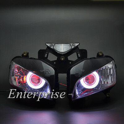 Projector Headlight White Angel Red Demon Eyes HID for Honda CBR1000RR 04-07 NEW