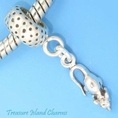 Mouse Rat .925 Solid Sterling Silver European Dangle Bead Charm Euro