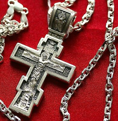 Large Mens Necklace Russian Orthodox Crucifix+Anchor Chain. Silver 925, 52g Set