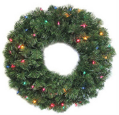 """24"""" BATTERY OPERATED 3 FUNCTION LUDWIG ARTIFICIAL LED CHRISTMAS WREATH W/TIMER"""
