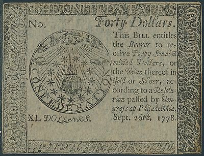 #cc-84 $40 Sept 26,1778 Continental Currency -- Cu+ -- Hv8466