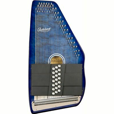 New Oscar Schmidt OS21CQ 21 Chord Autoharp, Quilted Transparent Blue +Ships Free