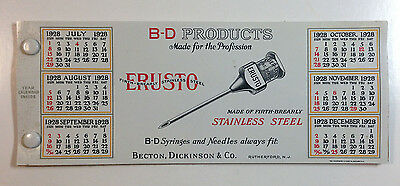 B-D Products Erusto Needles Blotter/Calendar, Becton Dickinson & Co. N. J. 1928