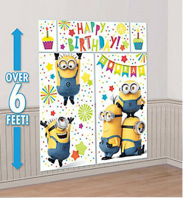 DESPICABLE ME MINIONS Scene Setter HAPPY BIRTHDAY Party wall decor kit over 6'
