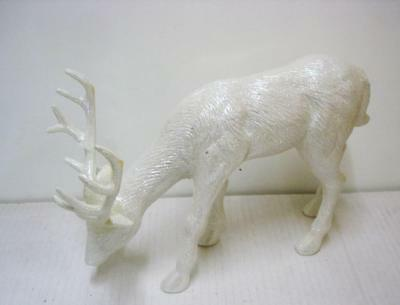 Pair New Reindeer Standing White 6.5 Inch Christmas Figure Decoration