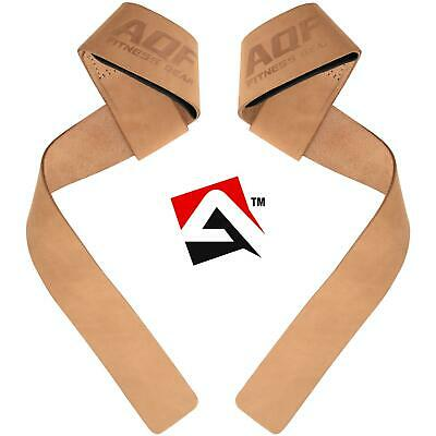 AQF Padded Leather Straps Weight Lifting Training Gym Bar Wrist Support Gloves