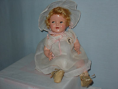 "SHIRLEY TEMPLE BABY,rare wigged,16"" FLIRTY EYE, 1930's, excellant compo&clothes"