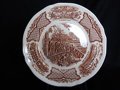 """Alfred Meakin FAIR WINDS-Brown 7"""" Bread & Butter Plate USS Constitution"""