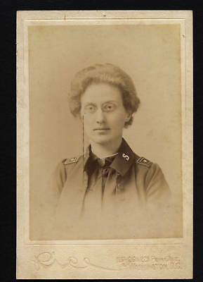 CABINET PHOTO: SALVATION ARMY WOMAN WITH BADGE, WASHINGTON D.C., 1890's-1905