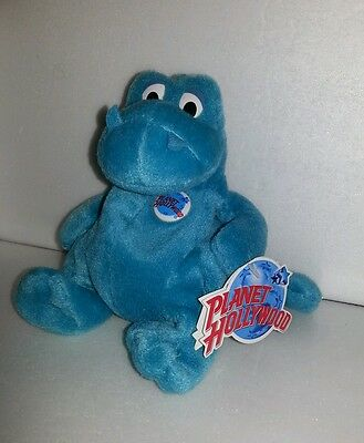 Planet Hollywood Collectible Bubba the Blue Dinosaur Beannie Plush Animal 6 in