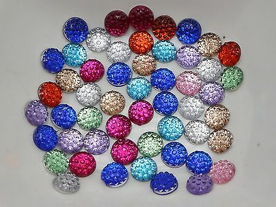 500 Mixed Color Round Flatback Resin Dotted Rhinestone Gem beads 6mm