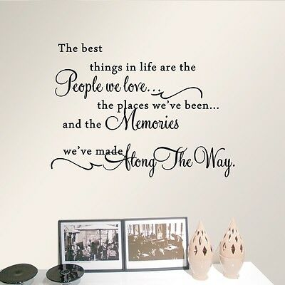 Quote The Best Things In Life Wall Art Sticker Vinyl Lettering Decal Home Decor