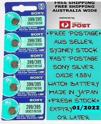 5 PCS SONY SR927SW 395 / 399 1.55V Silver Oxide Battery for Watch Made in Japan