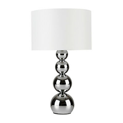 Modern Silver Chrome / White Touch Base Table Lamp Lounge Light Home Living