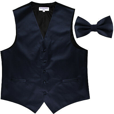 New Men's Formal Vest Tuxedo Waistcoat navy blue_Bowtie wedding prom party