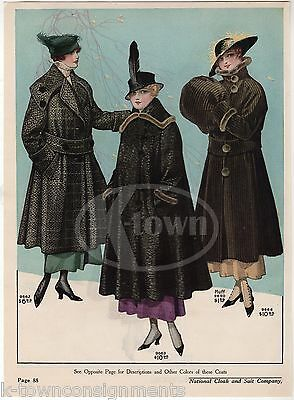 Ladies Winter Over-Coats Hats Antique Graphic Advertising Women's Fashion Print