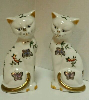 "Pair of Vintage 7"" Porcelain/Ceramic Cat Statue Figurines - Cats from Japan"