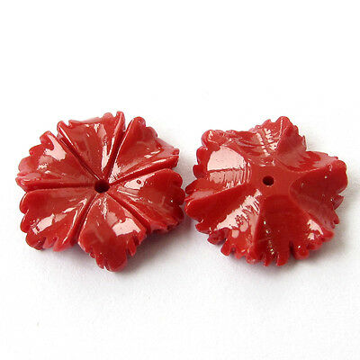 8Pcs Red Coral Flower Beads Finding
