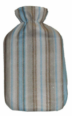 Hot Water Bottle with Soft Fleece Cover In a Cream, Brown and Blue Stripe NEW