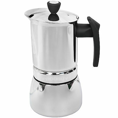 Café Olé Stainless Steel Stove Top Cafetiere Induction Espresso Coffee Maker Pot