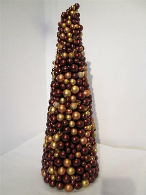 "COPPER BROWN BRONZE BALL BEAD BEADED TABLE TOP CHRISTMAS TREE ORNAMENT 16"" TALL"