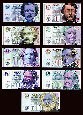 SET, Private Issue, 2013 - 9 banknotes, Early American Writers, Limited Issue
