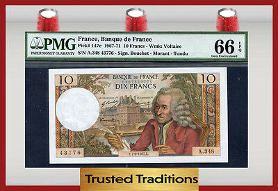 "TT  PK 147c 1967-71 FRANCE 10 FRANCS 'VOLTAIRE"" PMG 66 EPQ GEM UNCIRCULATED"